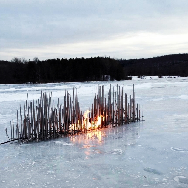 Elena Colombo stainless fire trough on lake-crop