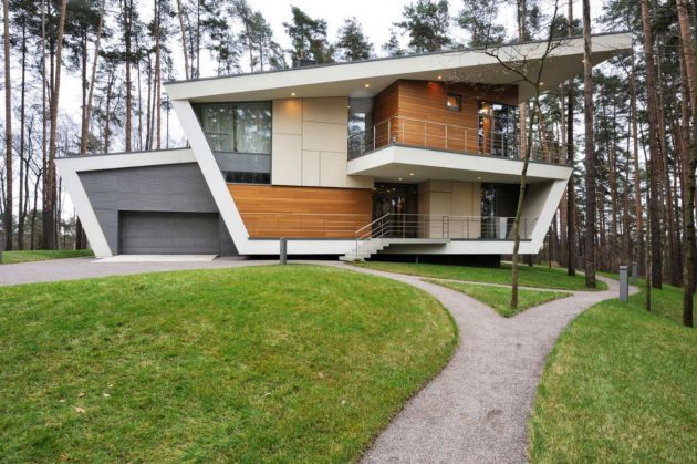 exterior-contemporary-young-family-house-exterior-design-ideas-with-sloping-shape-building-and-bricks-also-wooden-wall-layer-and-combine-with-glass-windows-also-doors-and-car-garage-also-green-gr